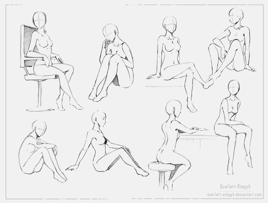 Поза сидя для рисунка
